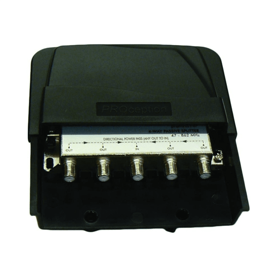 4-Way External Masthead Splitter/Combiner with LTE Filtering-35dB-55dB (up to channel 57) Waterproof Housing