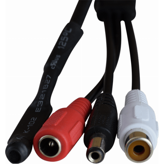 CCTV microphone - video + power in 1! Has an additional power socket to create a loop through, no need to run extra cables.