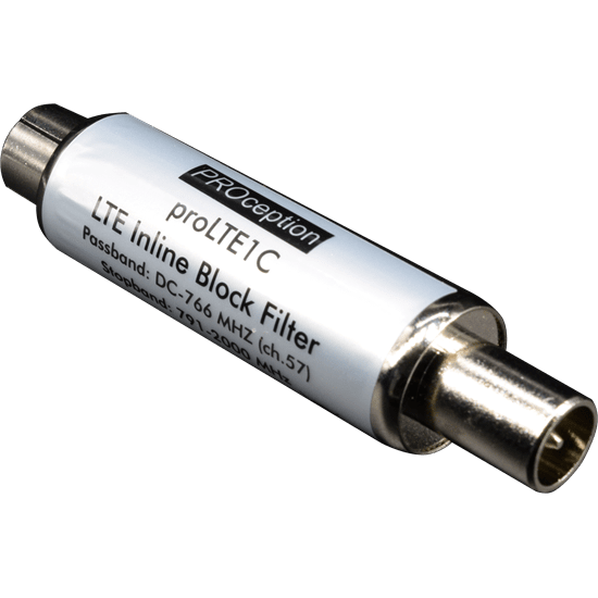 LTE:800 Inline Blocking Filter IEC-type 35dB-55dB (up to channel 57) Waterproof housing (IP55)
