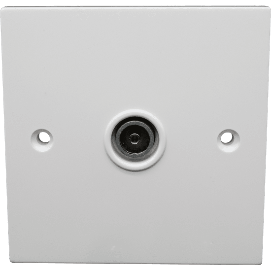 Slim Line Single IEC Female Outlet Plate. Shielded & DC Pass (Non Isolated). Fits in 16mm 1 - gang Box.