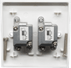 Slim Line Double F-Type Female Outlet Plate Shielded & DC Pass (Non Isolated). Fits in 16mm 1 - gang Box.