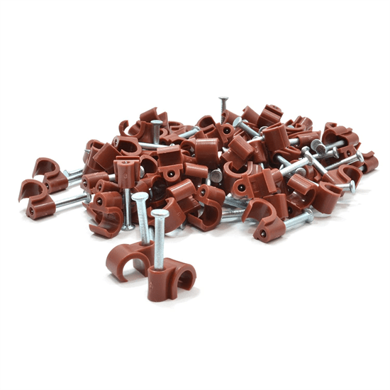 6-7mm Brown Cable Clips (Box of 100)